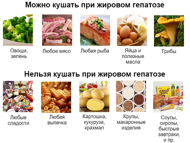 Запрещенные и разрешенные продукты при жировом гепатозе