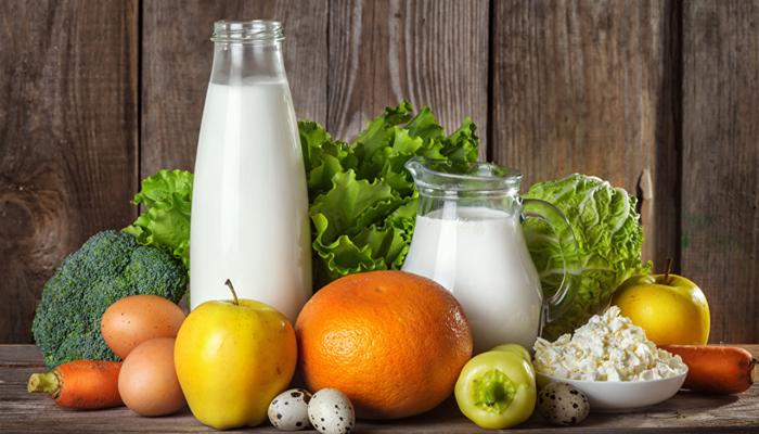 Молочные продукты, овощи и фрукты