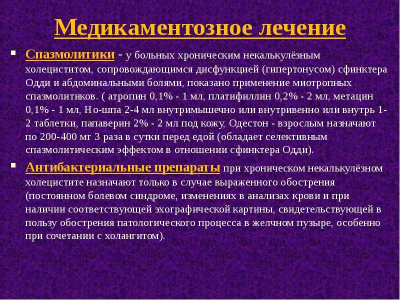 Лекарства при хроническом холецистите